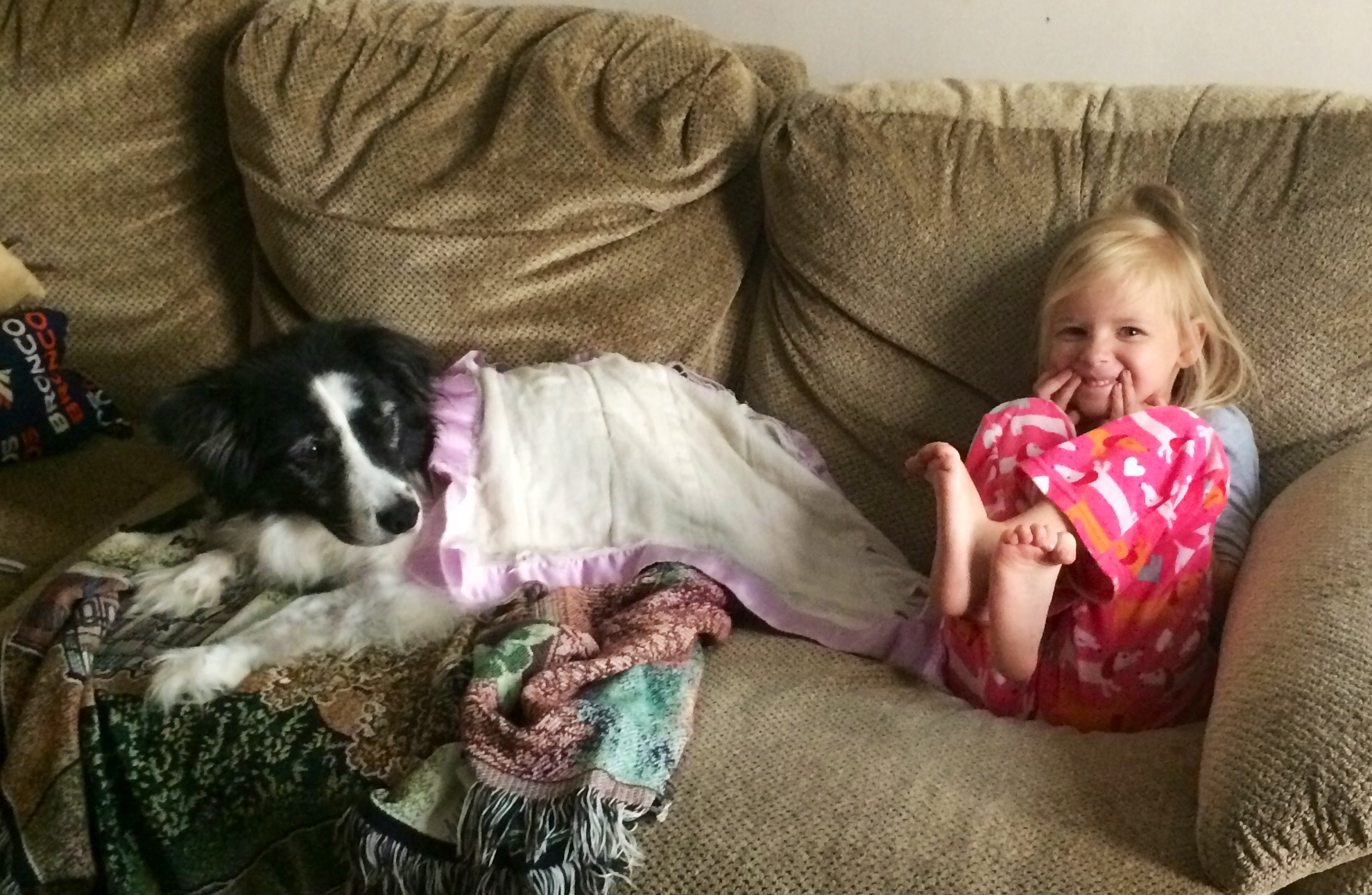 "Her last morning. Child 2.0 laid her own beloved blanket upon Sydney, to ""help her feel better."""